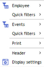 contextual menu diary header