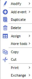 contextual menu diary event