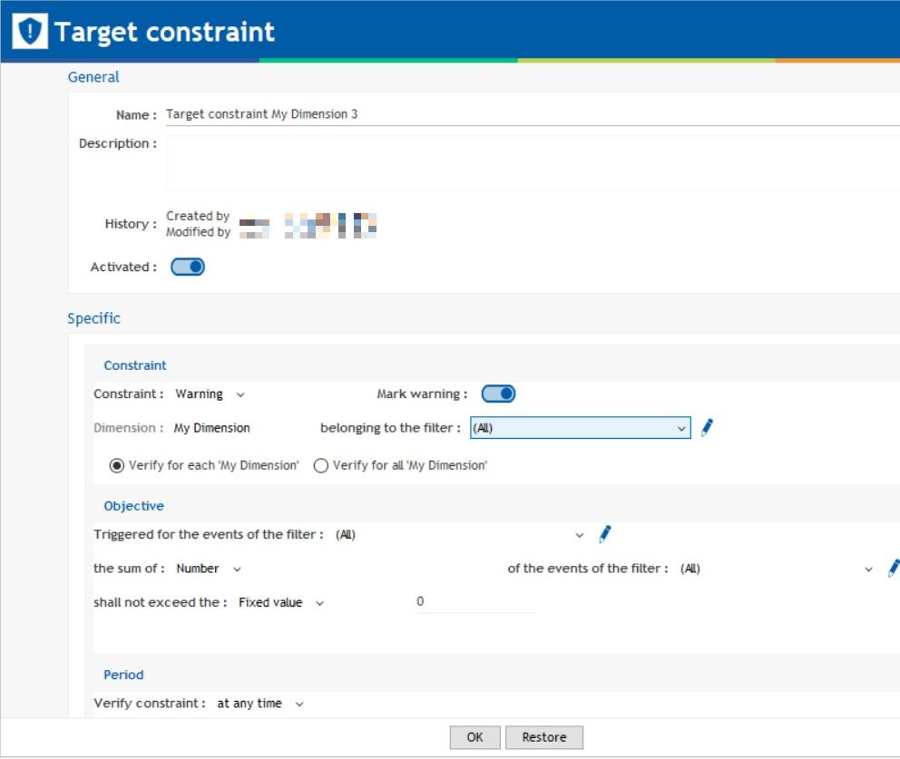 target constraint configuration