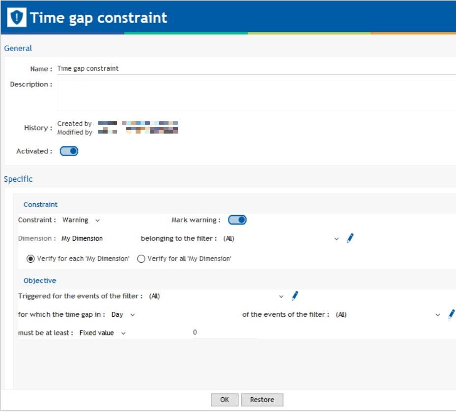 time gap constraint creation