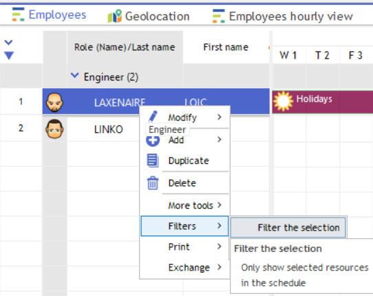 selection filter vue planning