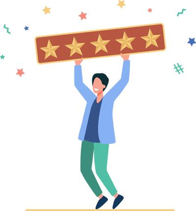 Happy-man-holding-five-rating-stars